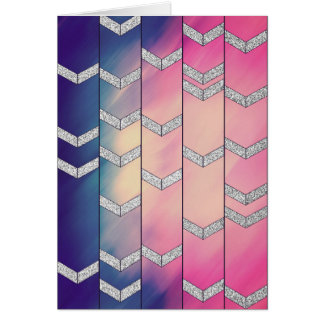 Trendy Colorful Watercolor Arrow Zig Zag Glitter Greeting Card