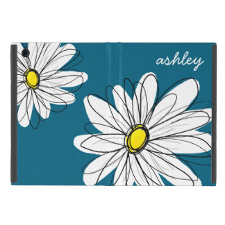 Trendy Daisy Floral Illustration - blue and yellow iPad Mini Cover