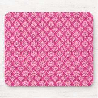 Trendy Hot Pink Diamond Scroll Pattern Mouse Pad