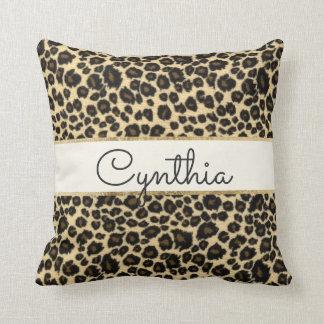 Trendy Safari Leopard Print Monogram Throw Cushions
