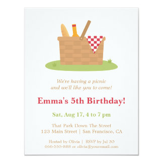 Trendy Summer Picnic Birthday Party Invitations