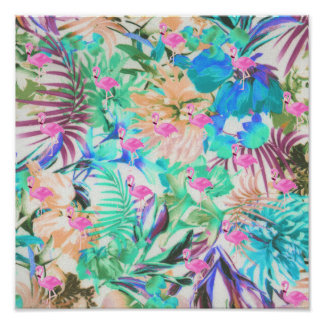 Trendy tropical teal pink floral flamingo poster