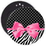 Trendy Zebra Print Polka Dots and Chic Pink Ribbon 6 Cm Round Badge