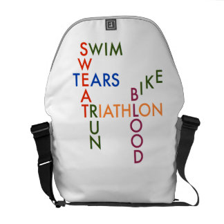 Triathlon blood sweat and tears messenger bag