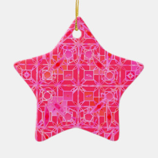 Tribal Batik - shades of fuchsia pink Ceramic Star Decoration