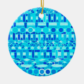 Tribal Batik - turquoise, aqua and cobalt blue Round Ceramic Decoration