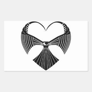 Tribal Hawk Valentines Day Heart Rectangular Sticker