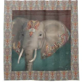 Tribal Kashmir Kani Pattern Elephant Boho Bohemian Shower Curtain