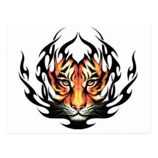 tribal Tiger Tattoo Postcard