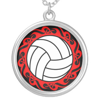 tribal volleyball round pendant necklace