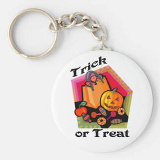 Trick or Treat Family Friendly Pumpkin & Candy Basic Round Button Key Ring