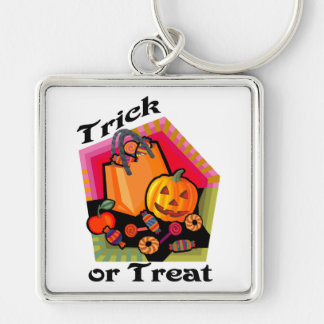 Trick or Treat Family Friendly Pumpkin & Candy Silver-Colored Square Key Ring
