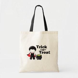 Trick or treat Halloween vampire canvas tote bag