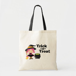 Trick or treat Halloween witch canvas tote bag
