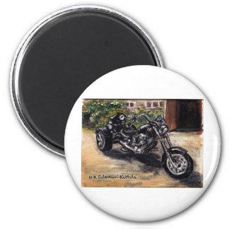 Trike motorcycle 6 cm round magnet