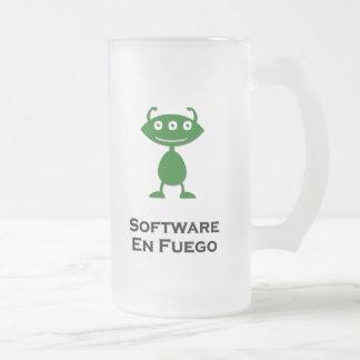 Triple Eye Software En Fuego green Frosted Glass Mug
