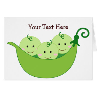 Triplet Pea Pods (customizable) Greeting Card