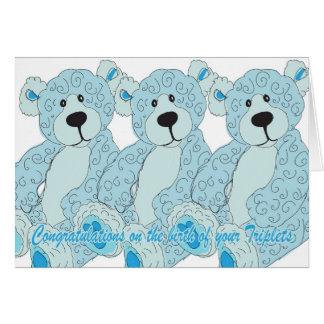 Triplets Congratulations Teddy Bear in blue Greeting Card