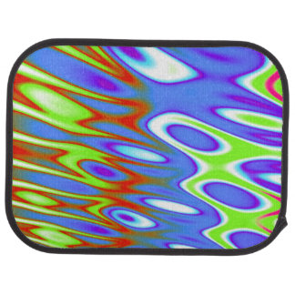 Trippy Blue Green White Abstract Floor Mat
