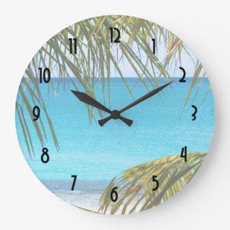 Tropical Beach framed with Palm Fronds Clock