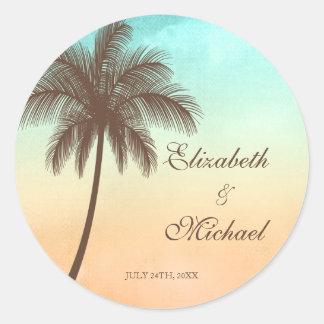 Tropical Beach Palm Tree Round Wedding Favor Label Round Sticker