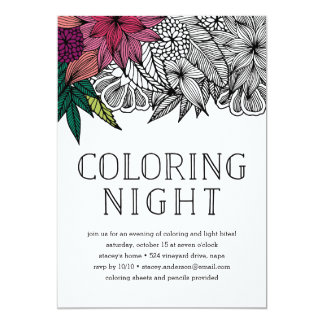 Tropical Floral Coloring Night Invitation