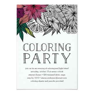 Tropical Floral Coloring Party Invitation