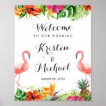 Tropical Floral Flamingo Couple Luau Wedding Sign Poster