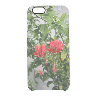 Tropical Fringed Coral Hibiscus Flower Clear iPhone 6/6S Case