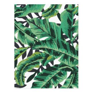Tropical Glam Banana Leaf Pattern Postcard