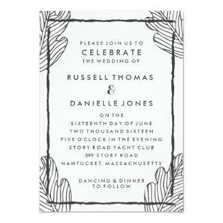Tropical Gray Leaf Modern Wedding Invitation