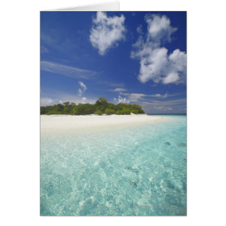 Tropical island surrounded by lagoon, Maldives, Greeting Card