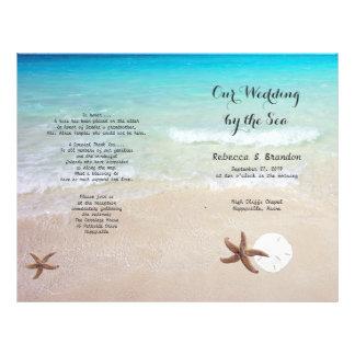 Tropical Ocean Beach Folded Wedding Program 21.5 Cm X 28 Cm Flyer