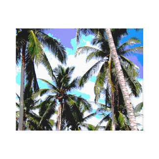 Tropical Palm Trees - Posterised Style Stretched Canvas Print