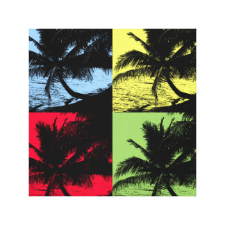 Tropical Palm Trees. Repeated posterised design. Canvas Prints