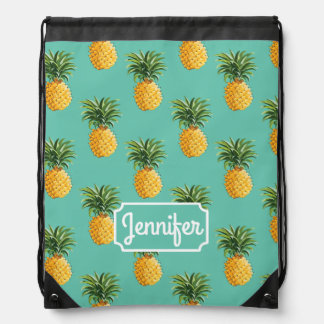 Tropical Pineapples On Teal | Add Your Name Drawstring Backpack