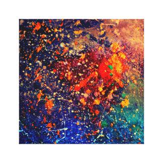 Tumultuous Bright Nebula Rainbow Colorful Splatter Stretched Canvas Prints