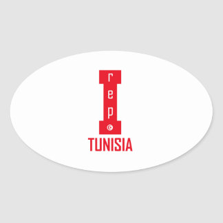 tunisia design oval sticker