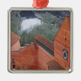 Turaida Castle by Gauja River, Sigulda, Latvia Silver-Colored Square Decoration