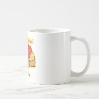 Turkey Cute Cartoon Gobble Thanksgiving Design Basic White Mug