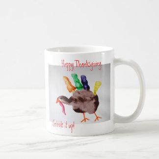Turkey  Happy Thanksgiving.  Gobble it up! Basic White Mug