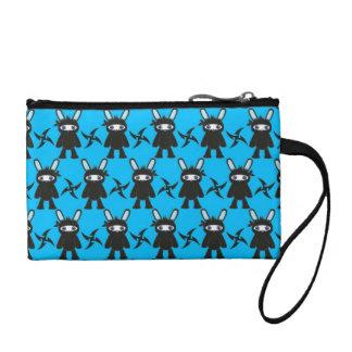 Turquoise and Black Ninja Bunny Pattern Change Purses