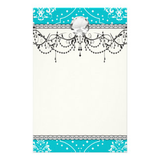 turquoise and white henna style damask stationery design