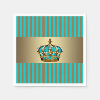 Turquoise Blue Gold Crown Prince Paper Napkins