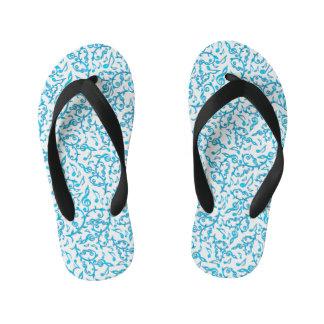 Turquoise Blue Music Notes Pattern Flip Flops
