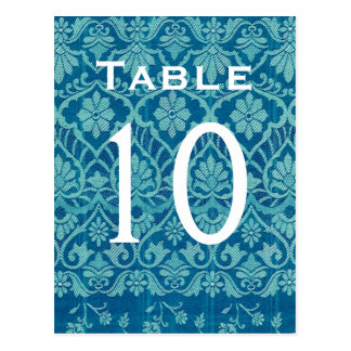Turquoise Damask Wedding Table Number Card Recepti Postcard