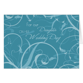 Turquoise Daughter Wedding Congratulations Card