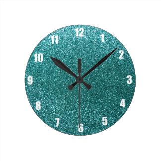 Turquoise glitter clock