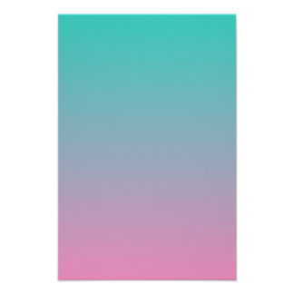 Turquoise Pink Ombre Poster