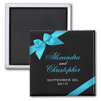 Turquoise Ribbon Save The Date Wedding Announce Square Magnet